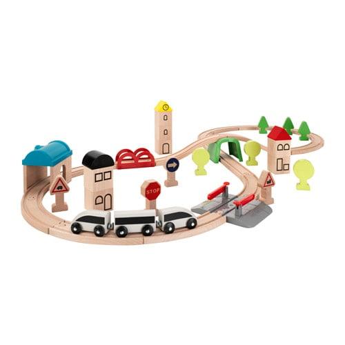 IKEA イケア キッズ 信憑 メーカー公式ショップ おもちゃ 遊具 木製おもちゃ 通販 レール付き LILLABO 00330067 45点セット 列車 e リラブー
