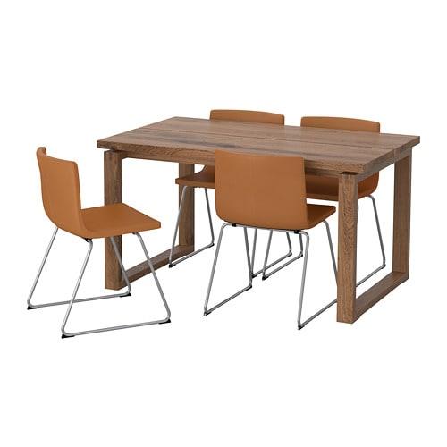 【IKEA/イケア/通販】 MÖRBYLÅNGA モールビロンガ / BERNHARD ベルナード テーブル&チェア4脚, オーク材突き板, ミューク ゴールデンブラウン(a)(S79280762)【代引不可商品】