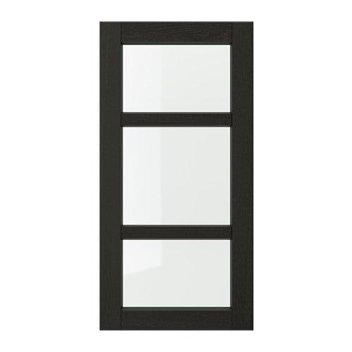 【IKEA/イケア/通販】 LERHYTTAN レルヒッタン ガラス扉, ブラックステイン(a)(00356043)