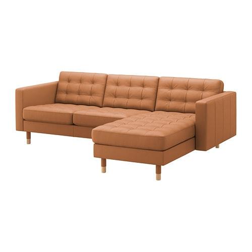 【IKEA/イケア/通販】 LANDSKRONA ランズクローナ 3人掛けソファ, 寝椅子付き, グラン/ボームスタード ゴールデンブラウン/ウッド(S49272645)【代引不可商品】