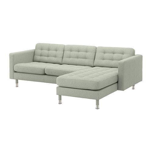 【IKEA/イケア/通販】 LANDSKRONA ランズクローナ 3人掛けソファ, 寝椅子付き, グンナレド ライトグリーン/メタル(a)(S59272683)