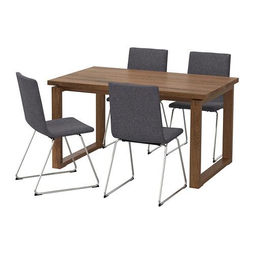 【IKEA/イケア/通販】 MÖRBYLÅNGA モールビロンガ / VOLFGANG ヴォルフガング テーブル&チェア4脚, ブラウン, グンナレド ミディアムグレー(a)(S69259841)【代引不可商品】