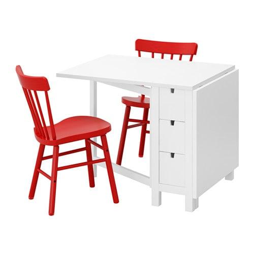 【IKEA/イケア/通販】 NORDEN ノールデン / NORRARYD ノッラリード テーブル&チェア2脚, ホワイト, レッド(a)(S09251225)