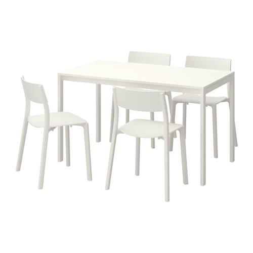 【IKEA/イケア/通販】 MELLTORP メルトルプ / JANINGE ヤニンゲ テーブル&チェア4脚, ホワイト, ホワイト(a)(S49246374)