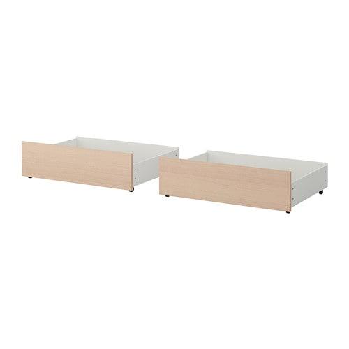【期間限定】【IKEA/イケア/通販】 MALM マルム ベッド下収納ボックス ベッドフレーム(a)(※マットレスなど別売りの商品がございます。ご注意ください)(高め)用, ホワイトステインオーク材突き板/2 ピース(40354508)