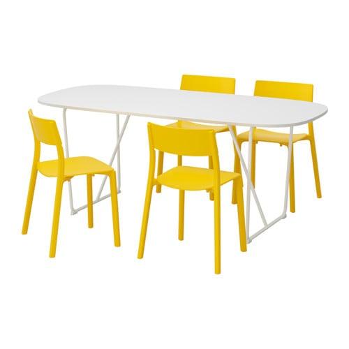 【IKEA/イケア/通販】 OPPEBY/BACKARYD オッペビー/バッカリード / JANINGE ヤニンゲ テーブル&チェア4脚, ホワイト, イエロー(a)(S29184051)