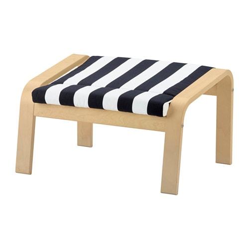 【IKEA/イケア/通販】 POÄNG ポエング フットスツール, バーチ材突き板, ステンリ ブラック/ホワイト(d)(S19181331)