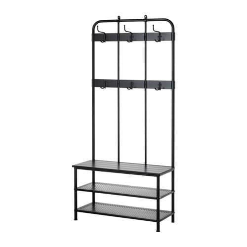 【期間限定】【IKEA/イケア/通販】 PINNIG ピンニグ コートラック 靴収納ベンチ付き, ブラック(d)(20329794)