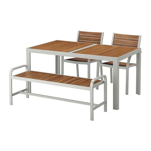 【IKEA/イケア/通販】 SJÄLLAND シェランド テーブル+チェア2+ベンチ 屋外用, ライトブラウン, ライトグレー(S79265158)【代引不可商品】