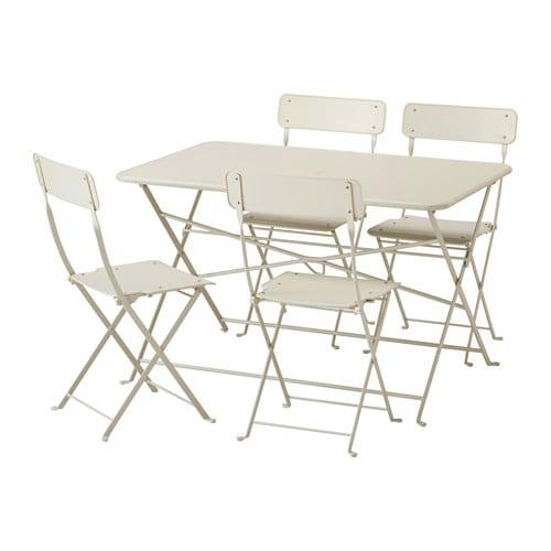 【IKEA/イケア/通販】 SALTHOLMEN サルトホルメン テーブル+折りたたみチェア4 屋外用, ベージュ(a)(S79218082)