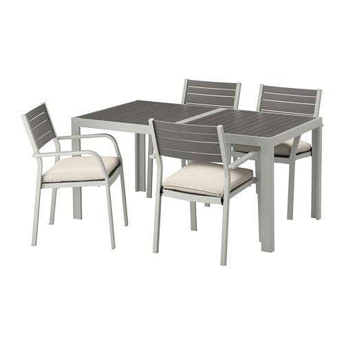 【IKEA/イケア/通販】 SJÄLLAND シェランド テーブル+チェアアームレスト付き4 屋外用, ダークグレー, フローソーン/デューヴホルメン ベージュ(a)(S89265501)【代引不可商品】