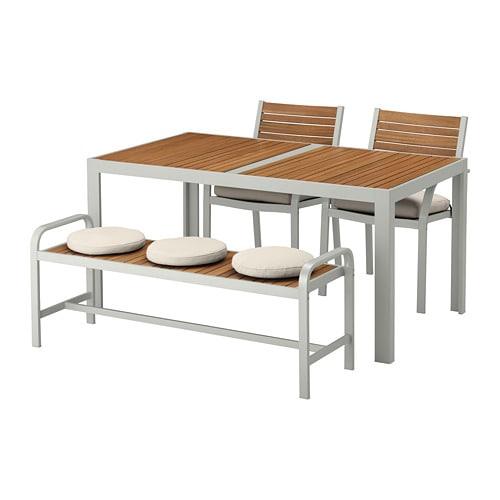 【IKEA/イケア/通販】 SJÄLLAND シェランド テーブル+チェア2+ベンチ 屋外用, ライトブラウン, フローソーン/デューヴホルメン ベージュ(S79267633)