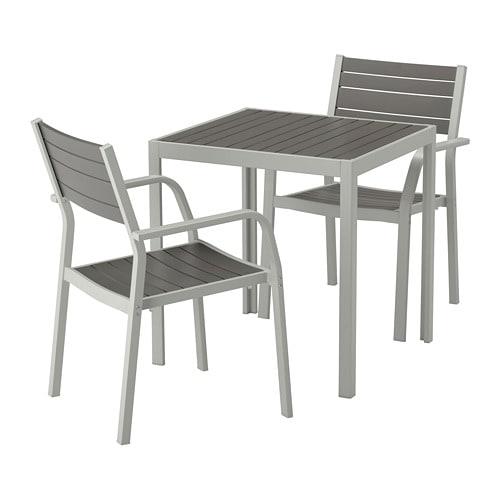 【IKEA/イケア/通販】 SJÄLLAND シェランド テーブル+アームレスト付きチェア2脚 屋外用, ダークグレー, ライトグレー(a)(S39264943)