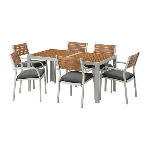 【IKEA/イケア/通販】 SJÄLLAND シェランド テーブル+チェアアームレスト付き6 屋外用, ライトブラウン, フローソーン/デューヴホルメン ダークグレー(S89266478)【代引不可商品】