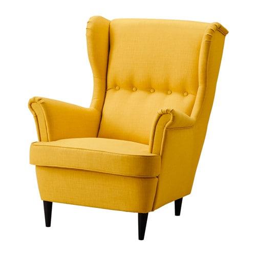 IKEA イケア リビングルーム 布製ソファ 布製アームチェア 期間限定 通販 年間定番 STRANDMON スキフテボー イエロー a ストランドモン お得 ウイングチェア 60361895