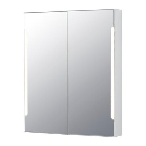 【IKEA/イケア/通販】 STORJORM ストルヨルム ミラーキャビネット 扉2枚/ビルトイン照明, ホワイト(d)(70250081)