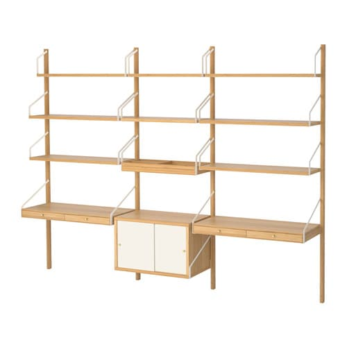 【IKEA/イケア/通販】 SVALNÄS スヴァルネース 壁取り付け式ワークスペースコンビネーション, 竹, ホワイト(a)(S39184461)