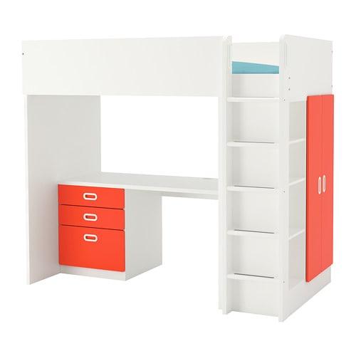 【IKEA/イケア/通販】 STUVA ストゥヴァ / FRITIDS フリーティズ ロフトベッドフレーム デスク&収納付き(引き出し×3/扉×2), ホワイト, レッド(S29257995)【代引不可商品】