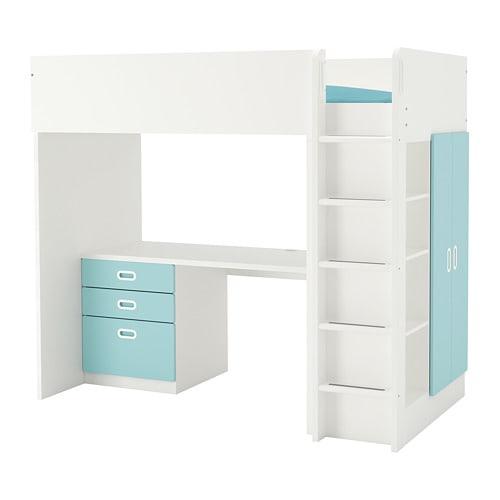 【IKEA/イケア/通販】 STUVA ストゥヴァ / FRITIDS フリーティズ ロフトベッドフレーム デスク&収納付き(引き出し×3/扉×2), ホワイト, ライトブルー(a)(S69261995)