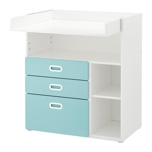 【IKEA/イケア/通販】 STUVA ストゥヴァ / FRITIDS フリーティズ おむつ替え台 引き出し付き, ホワイト, ライトブルー(a)(S59253161)