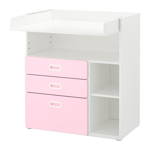 【IKEA/イケア/通販】 STUVA ストゥヴァ / FRITIDS フリーティズ おむつ替え台 引き出し付き, ホワイト, ライトピンク(a)(S69267271)