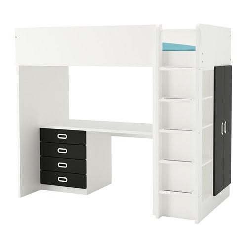 【IKEA/イケア/通販】 STUVA ストゥヴァ / FRITIDS フリーティズ ロフトベッドフレーム デスク&収納付き(引き出し×4/扉×2), ホワイト, 黒板(S09268725)【代引不可商品】