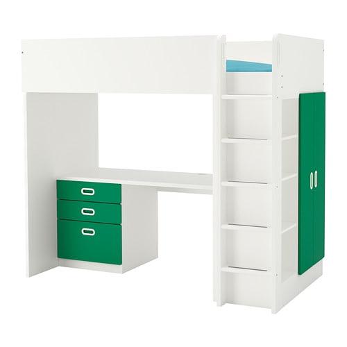 【IKEA/イケア/通販】 STUVA ストゥヴァ / FRITIDS フリーティズ ロフトベッドフレーム デスク&収納付き(引き出し×3/扉×2), ホワイト, グリーン(a)(S79267708)【代引不可商品】