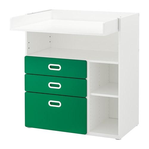 【IKEA/イケア/通販】 STUVA ストゥヴァ / FRITIDS フリーティズ おむつ替え台 引き出し付き, ホワイト, グリーン(a)(S79267275)