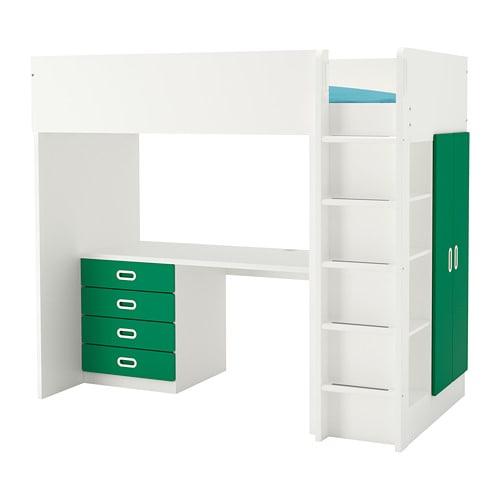 【IKEA/イケア/通販】 STUVA ストゥヴァ / FRITIDS フリーティズ ロフトベッドフレーム デスク&収納付き(引き出し×4/扉×2), ホワイト, グリーン(S69268713)【代引不可商品】