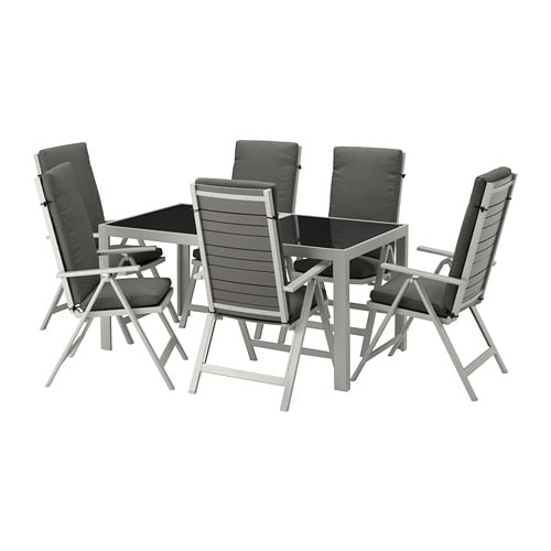 【IKEA/イケア/通販】 SJÄLLAND シェランド テーブル+リクライニングチェア6 屋外用, ガラス, フローソーン/デューヴホルメン ダークグレー(S79266884)【代引不可商品】