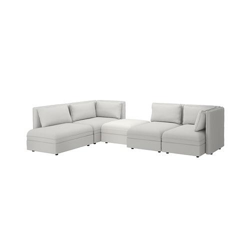 【IKEA/イケア/通販】 VALLENTUNA ヴァレントゥナ モジュールコーナーソファ 4人掛け, 収納付き, オッルスタ/ムールム ライトグレー/ホワイト(a)(S79278028)【代引不可商品】