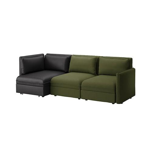 【IKEA/イケア/通販】 VALLENTUNA ヴァレントゥナ 3人掛けモジュールソファ ソファベッド付き, &収納, オッルスタ/ムールム オリーブグリーン/ブラック(a)(S39277846)【代引不可商品】