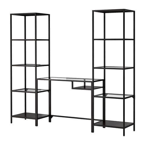 【特選商品】【IKEA/イケア/通販】 VITTSJÖ ヴィットショー シェルフユニット ラップトップテーブル付き, ブラックブラウン, ガラス(c)(S19902660)