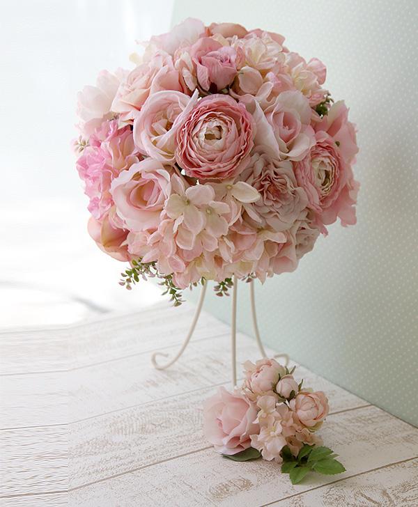 【ブーケ&ブートニア 2点セット】 ウエディングブーケ キャンディのようなふんわりピンク No-19 日本メーカーの高級造花使用♪ 結婚式 ブーケ 前撮り ブライダル 海外挙式 リゾート挙式 披露宴