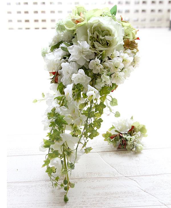 【ブーケ&ブートニア 2点セット】 ウエディングブーケ アイビーラインが美しい和風モダンキャスケード No-40 日本メーカーの高級造花使用♪ 結婚式 ブーケ 前撮り ブライダル 海外挙式 リゾート挙式 披露宴