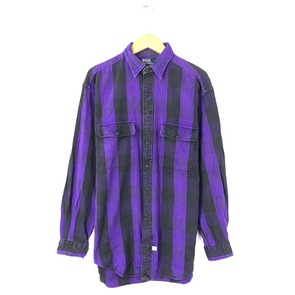 ラルフローレン ブランドシャツ サイズ表記 M パープル RALPH LAUREN ストライプ 古着【中古】wv1907-1555