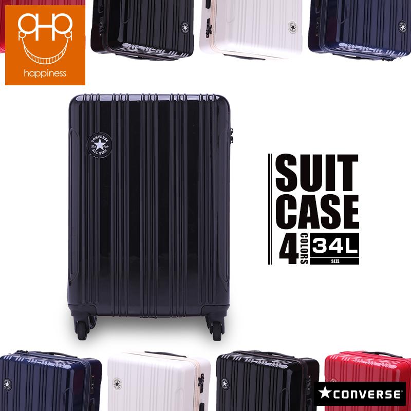 【We Happiness】converse コンバース スーツケース キャリーバッグ 34L[1泊~3泊] W35cm×H48cm×D23cm 本体2.8kg 機内持ち込み対応 TSAロック 鍵2本 キャリーバー2段調節 4色展開 ブラック・ネイビー・ホワイト・レッド PC/ABS Mサイズ 軽量 海外旅行