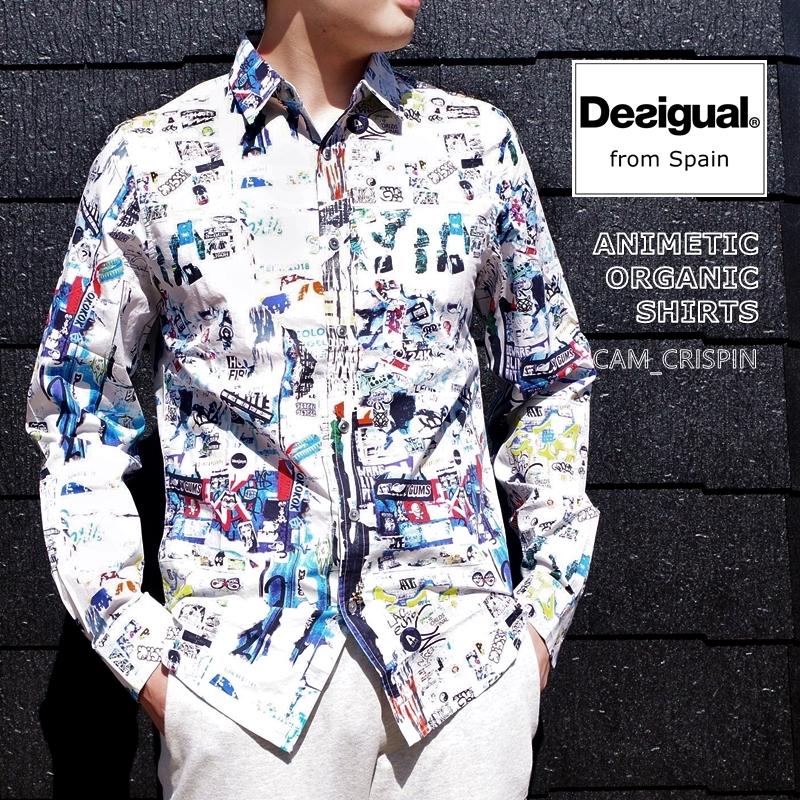 【2020年春夏☆数量限定生産】【MEN'S/メンズ/大きめサイズ】【この商品は送料無料】Desigual/デジグアル・デシガル・デジガルCAM_CRISPIN/オーガニックアニメチックPOPシャツ(1色)【ポップPOP/ドレスシャツ//綿コットン/すっきり】【追跡メール便配送OK】