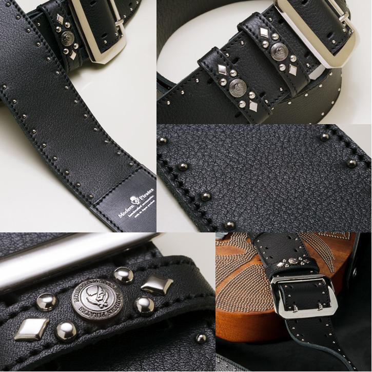 weichebrise 50mm width soft leather guitar strap side round studs rakuten global market. Black Bedroom Furniture Sets. Home Design Ideas