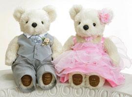 ★熊本のショップです 頑張ります!★  【送料無料!・税込】ベーシックなウエイトドール!可愛いウエディング洋装 グレーベスト・ピンクドレス!出産祝・結婚式に人気の体重ベア【刺繍無料サービス・選べるカラー】