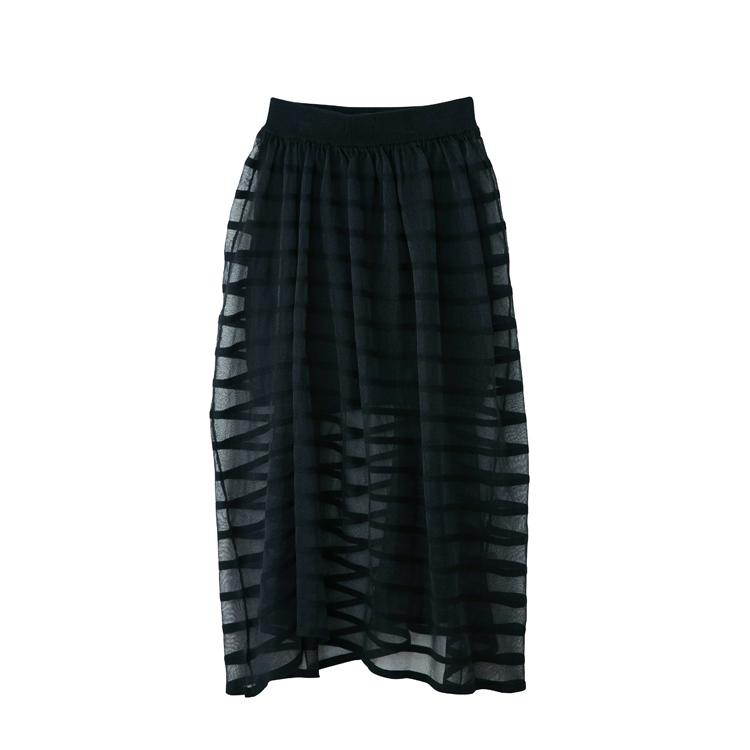 ★送料無料★【QALB-カルブ】SEE-THROUGH BORDER SKIRT ブラック シースルースカート レディース 春服 春スカート