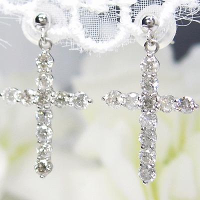 K18 ダイヤモンド ピアス クロス 1.0カラット 受注品 ダイヤピアス 18金  ダイヤモンドピアス レディース シンプル  記念 ジュエリー アクセサリー お祝い ギフト 誕生日プレゼント 女性 贈り物 ダイアモンド 売れ筋