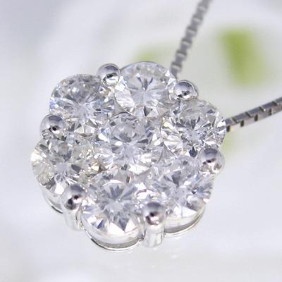 プラチナ ダイヤモンド ネックレス  1.0カラット 受注品  ダイヤネックレス Pt900 フラワー ダイヤモンドネックレス レディース シンプル ダイヤ 記念 ジュエリー アクセサリー お祝い ギフト 誕生日プレゼント 女性 贈り物 ダイアモンド 首飾り