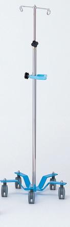 点滴スタンド イルリガートル台 5輪キャスター・グリップ付ブルー【送料・代引き手数料無料】