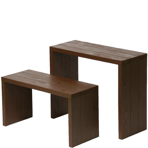 Welcome wood ウッドステージWSW662MH-CB ワイド2段タイプ  色はカフェブラウン(CB) (フラワースタンド  フラワーラック プランタースタンド 飾り台)