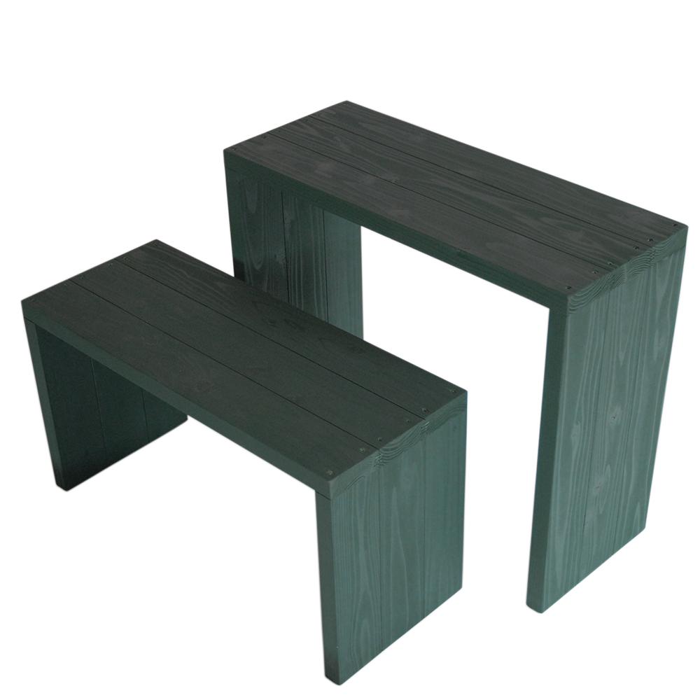 Welcome wood ウッドステージWSW662MH-GG ワイド2段タイプ  色はガーデングリーン(GG) (フラワースタンド  フラワーラック プランタースタンド 飾り台)