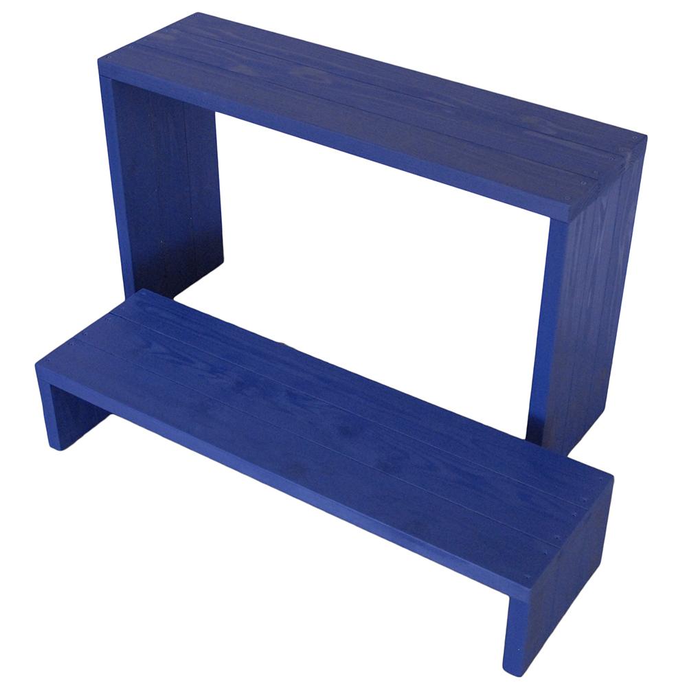 Welcome wood ウッドステージ WSW902LH-GB ワイド2段タイプ  色はガーデンブルー(GB) (フラワースタンド  フラワーラック プランタースタンド 飾り台)