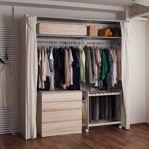 Curtains With Closet Rockers Wardrobe Clothes Rack Telescopic Organization  With Width 128 205 Cm NJ 0361/NJ 0362/NJ 0363