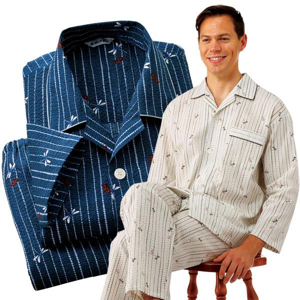 日本製 遠州捺染和柄パジャマ 2色組 メンズ 綿100% トンボ柄 和柄 パジャマ 春夏 50代 60代 955261