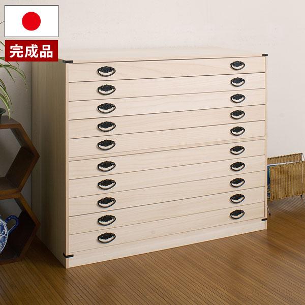 桐タンス 10段 桐チェスト 幅99cm 高さ84cm 和風箪笥 菊模様金具付 隠しスペース付 日本製 完成品 HI-0030